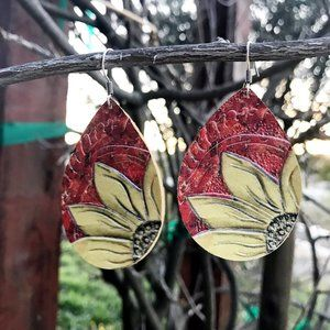 Jewelry - Leather Sunflower Earrings - Red